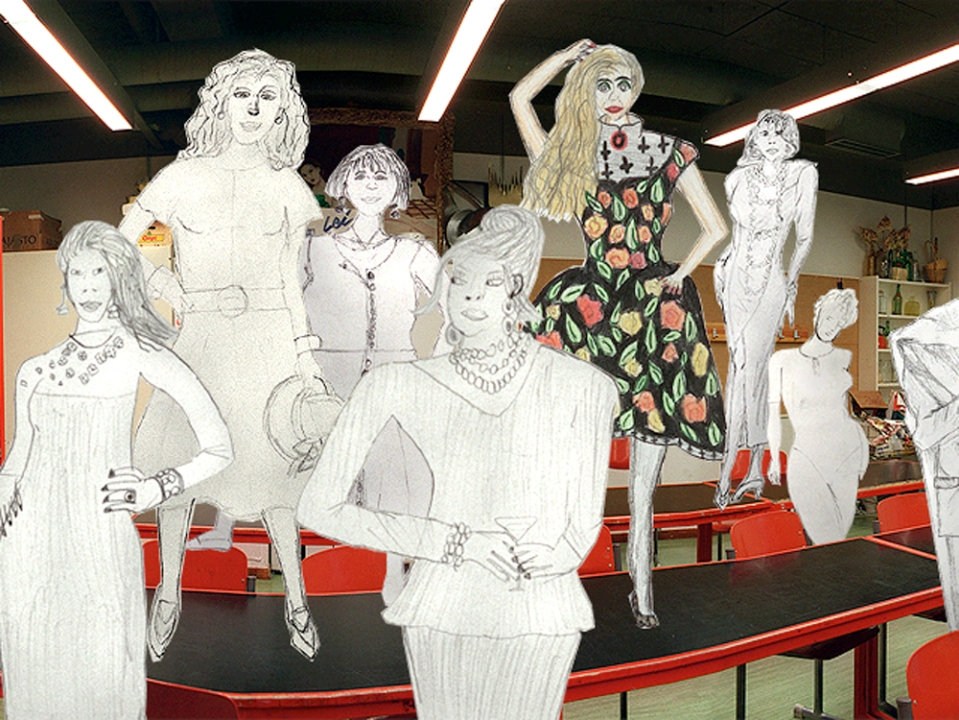 Fashion models drawn by students