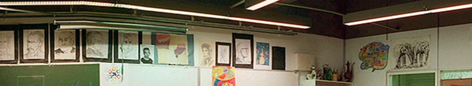 A selection of artists on the art class wall