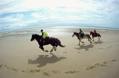 The famous beach gallop on the first day of the 6-day trail