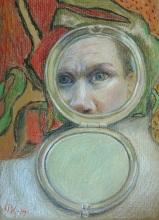 Self portrait in Valpo, March 2014. Colored Pencils, post card size.