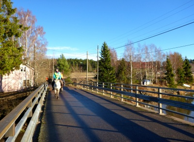 Crossing Porvoonjoki river on the way back to the stable.