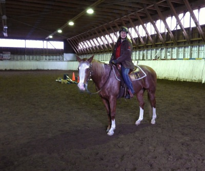 Ending a lesson in the manege in November 2013.