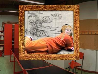 (Rompulla yhdistin videolta poimitun Essin poseerauksen omaan 12-vuotiaana piirtämääni sarjakuvaruutuun)