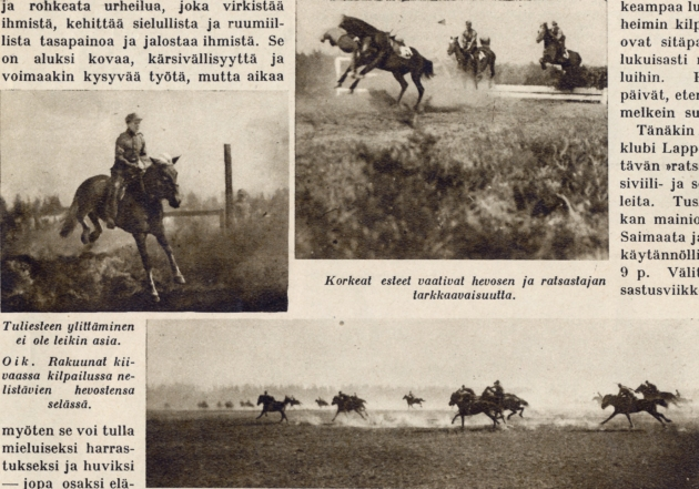 This exerpt from Suomen Kuvalehti (Finland's picture magazine) from July 15th 1933 shows that riding skills were considered important and practised in the Finnish army